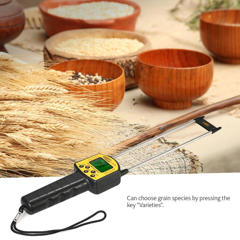 Handheld LCD Digital Grain Moisture Meter Hygrometer with Measuring Probe for Corn Wheat Rice Bean Peanut Sorghum